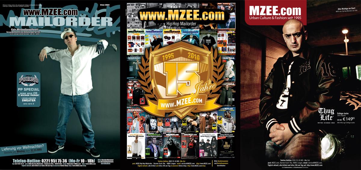 Auswahl MZEE Katalogcover: Prinz Porno, MZEE Jubiläum 2010, Haftbefehl