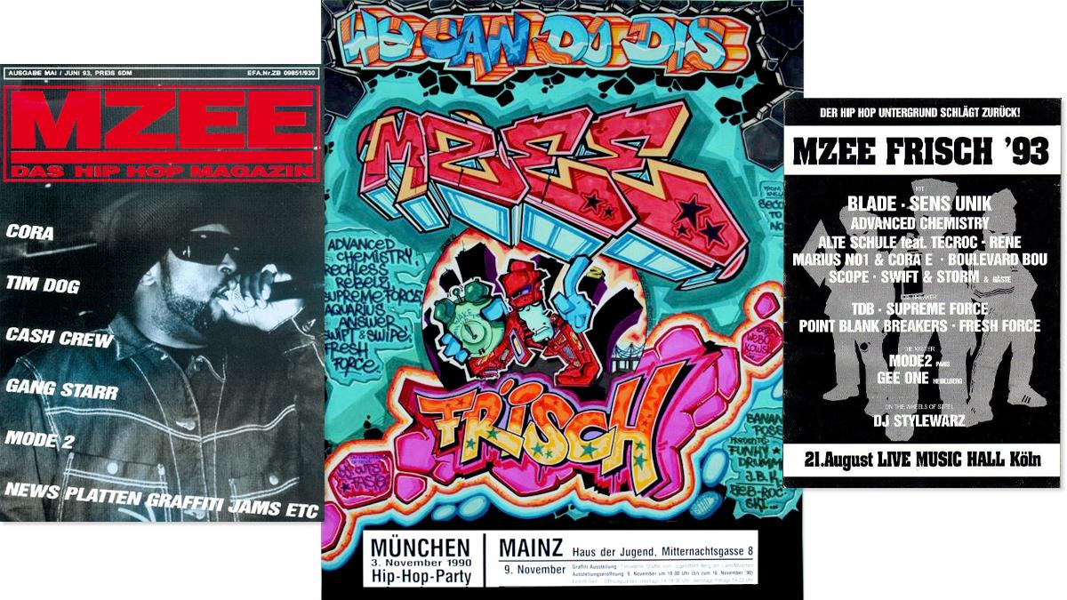 Eine Ausgabe des MZEE-Magazins Das Poster zur ersten MZEE-Jam 1990 Flyer zur MZEE Frisch 1993