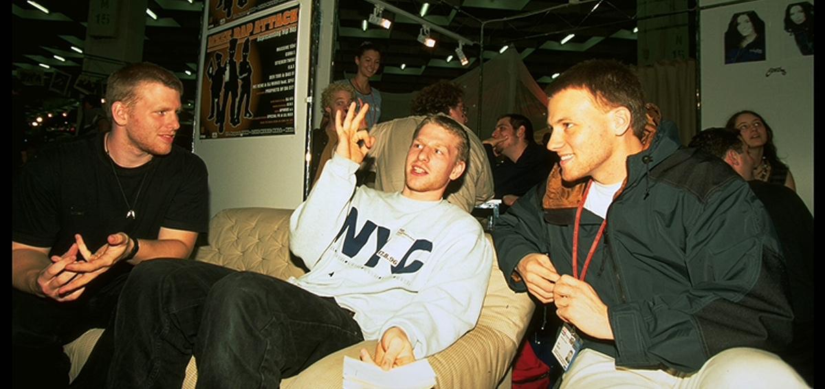 Stieber Twins und Ralf Kotthoff auf der Popkomm-Messe in Köln 1996.