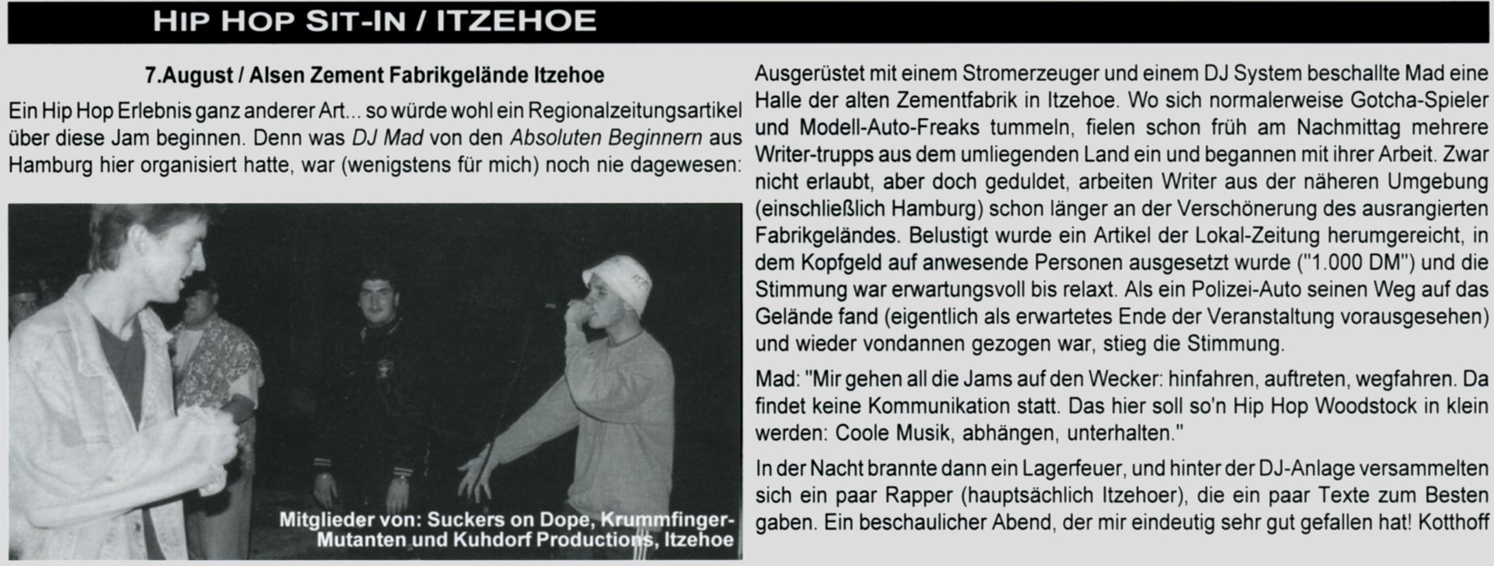 """Zum Thema """"Itzehoe"""" Ausschnitt aus dem MZEE-Magazin Ausgabe Nr.7 (Nov./Dez. 1993)"""