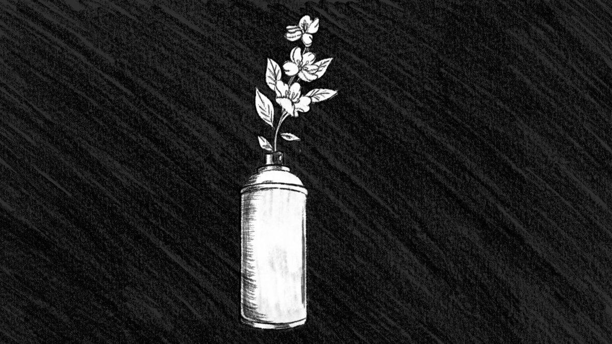 Titelbild: gezeichnet, eine Pflanze wächst aus einer Graffiti-Sprühdose